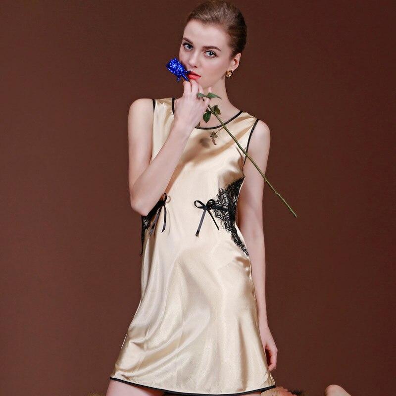 Women Waist Lace Decoration Summer Nighgown Vest Nightdress Silk Satin Night Dress Sleeveless Nighties Round-neck Sleepwear