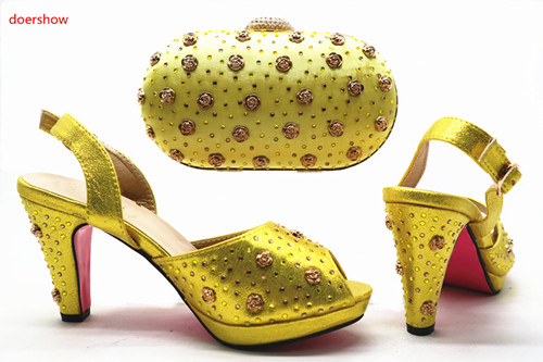 doershow New Fashion Italian Shoes With Matching Bags African High Heel Women Shoes and Bags Set For Prom Party SHX1-21
