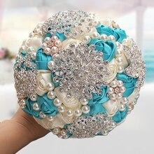 WifeLai el yapımı fildişi gelin düğün buketleri gül zarif çarpıcı inciler boncuklu kristal broş dikiş evlilik buketleri W230