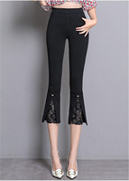 Plus Size 2018 Spring Woman Stretch Hight Waist Lace Office Lady Pants Korean Casual Female Flare