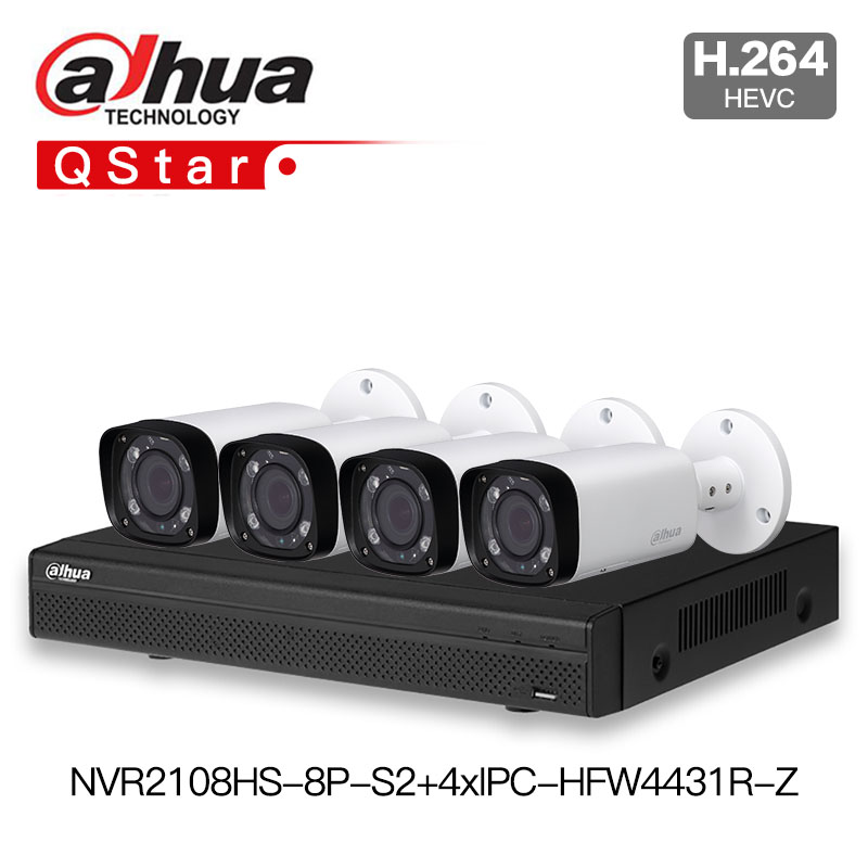 Dahua POE IP Kit outdoor CCTV Camera Kit With NVR2108HS 8P S2 IP Camera IPC HFW4431R Z P2P Surveillance System Easy to install
