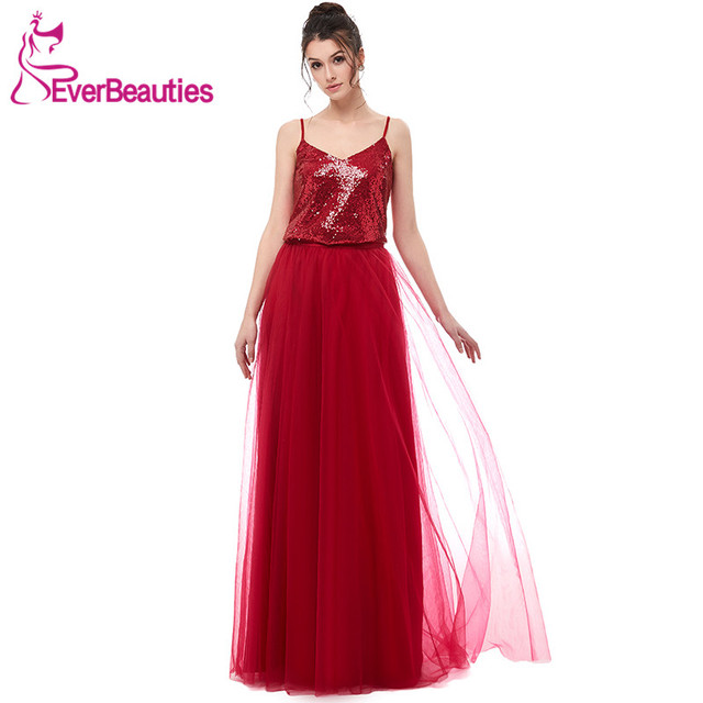 5b6992156ab Wine Red Bridesmaid Dress Long 2018 Sequin with Tulle V-Neck Party Gown  Wedding Prom Dress for Bridesmaid