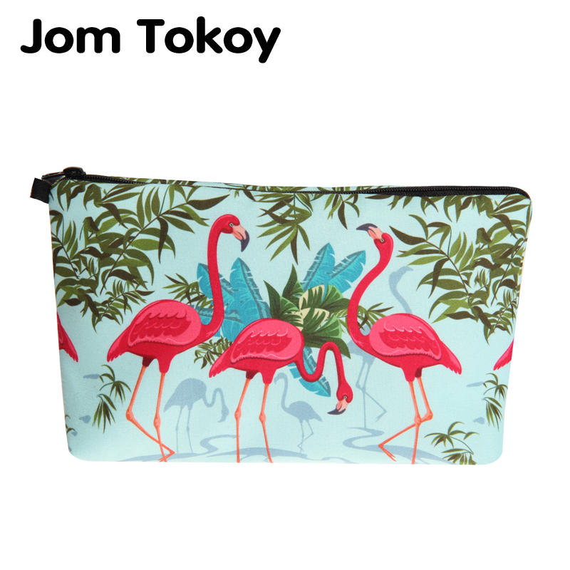 Jom Tokoy 2018 New fashion Cosmetic Bag Fashion Women Brand makeup bag 3D Printing Flamingos cosmetic organizer bags jom tokoy 3d printing unicorn makeup bags multicolor pattern cute women cosmetic bag