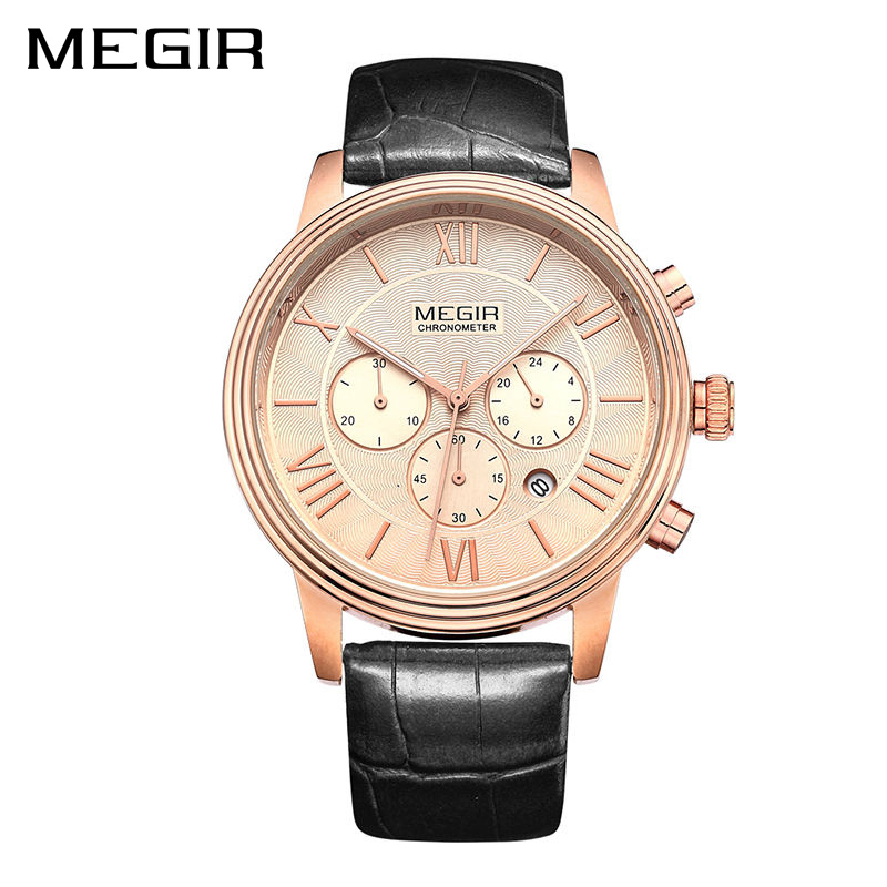 цены MEGIR Relogio Masculino Top Brand Luxury Men Watch Leather Strap Chronograph Quartz Watches Clock Men Erkek Kol Saati Mens 2012