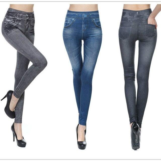 c05f4d876b Aliexpress.com : Buy 2017 Leggings Jeans for Women Denim Pants with Pocket  Slim Leggings Women Fitness Plus Size Leggins S XXL Black/Gray/Blue from ...