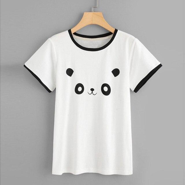d38208c5b Cute Panda Print T-Shirt Women Fashion Casual Short Sleeve O-Neck Tops  Stranger Things Camisetas Mujer