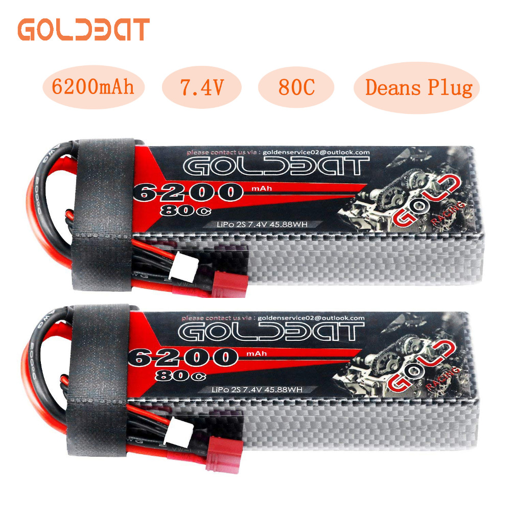 2unit GOLDBAT 6200mAh Lipo Battery for RC Car Battery Lipo 7.4V Lipo 2s 80C With Deans Plug For RC Car Truck Helicopter Traxxas