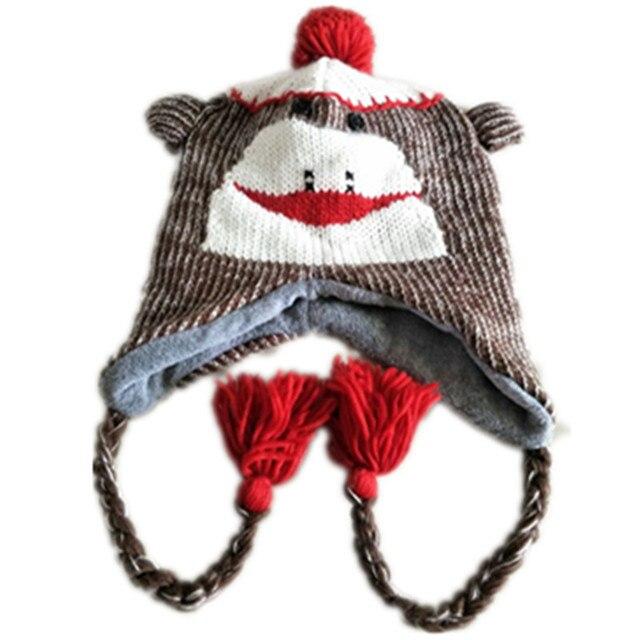 f1f348e5779 Cartoon Animals Cute Monkey Knitting Cotton Beanies Cap Plush Winter Warm  Red Mouth Monkey Frog cat Hats Kid Child Fleece Lining