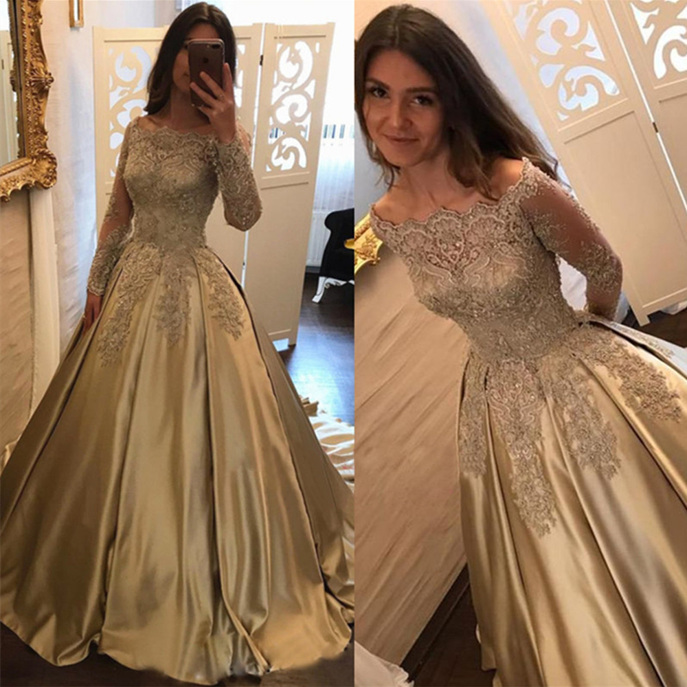 Elegant 2019 Off Shoulder Prom dresses Long Sleeves Vestidos de fiesta dress for graduation Formal Evening Prom Dresses