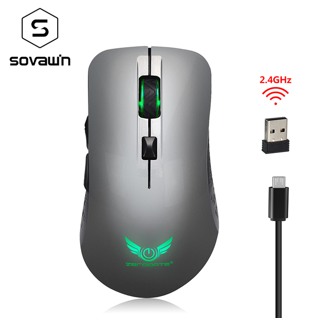 X90 USB 2.4GHz Wireless Mouse Colorful Breathing Backlight Rechargeable 2400DPI Optical Computer Mouse Gamer For PC Laptop