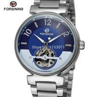 Fsg8070m4s1 forsining merk automatische zelf- wind jurk mode skelet horloge voor mannen met analoge display geschenkdoos gratis verzending