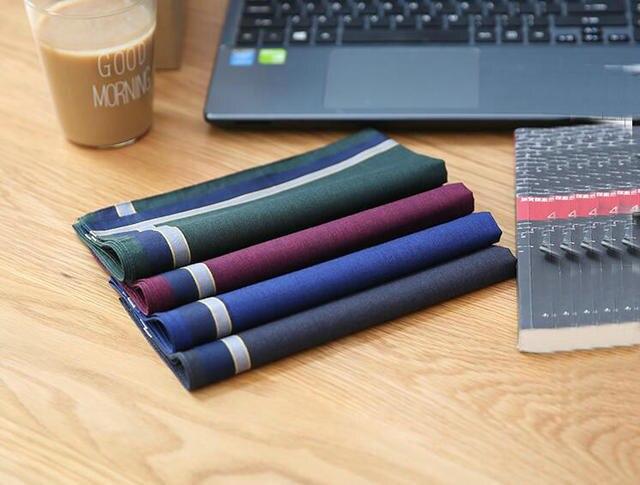 Freeshipping 6 cái 43*43 cm Cotton khăn tay Thời Trang sọc Vuông Khăn Tay của Nam Giới Kinh Doanh Phù Hợp Với Túi Khăn