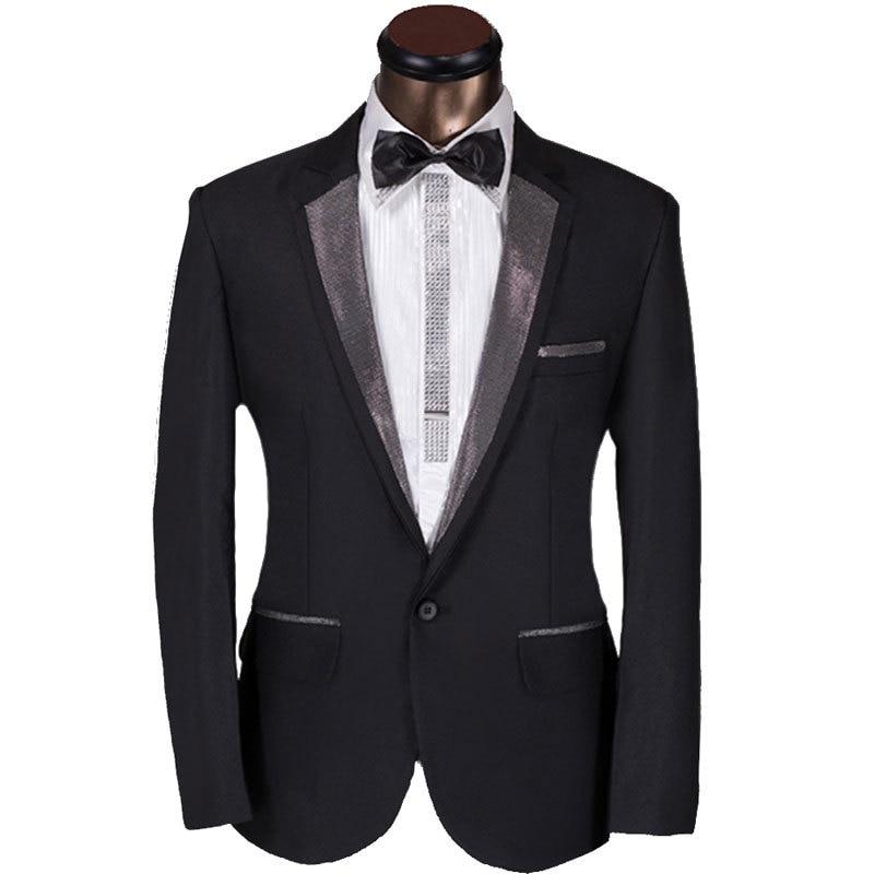 3f89a5a4b632f 2016 New Custom Men Suit Elegant Design Mens Dark Sliver Lapel Prom ...