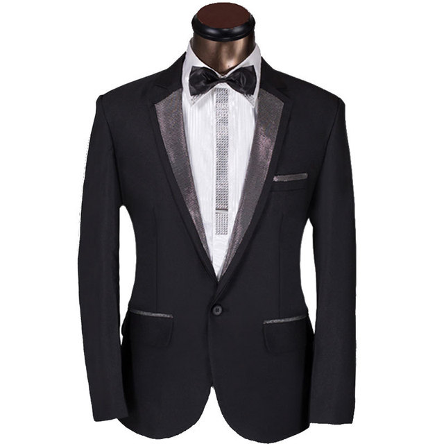 2016 New Custom Men Suit Elegant Design Mens Dark Sliver Lapel Prom Tuxedo Suit w/ Pants Groom Party Wedding Suit For Men 6Xl