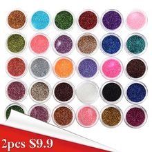 30Pcs/Set Hot Sale New Beauty 30 Mixed Colors Nail Powder Pigment Glitter Mineral Spangle Eyeshadow Makeup One Set Maquiagem