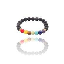 New Natural Stone Color Volcanic Yoga Energy Beaded Bracelet Multicolor Seven Chakras Beads Gift