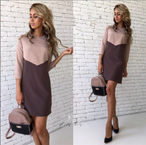 Women Autumn Winter Dress Casual Patchwork Mini Dress O-Neck Three Quarter Sleeve Bodycon Dress Vestidos Plus Size