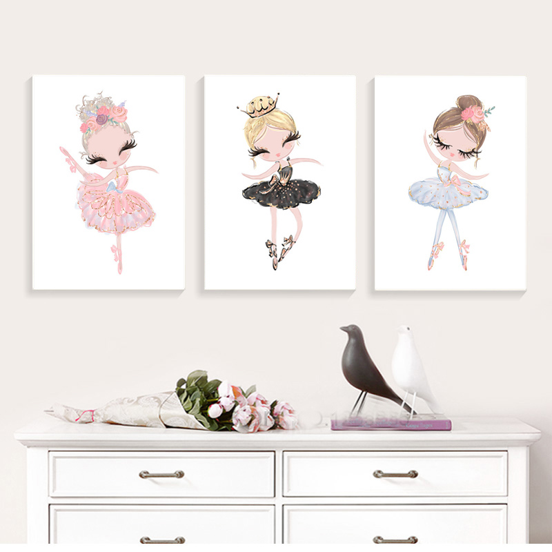 Ballet-Princess-Nursery-Nordic-Poster-Unicorn-Wall-Art-Canvas-Painting-Swan-Wall-Pictures-For-Children-Room (1)