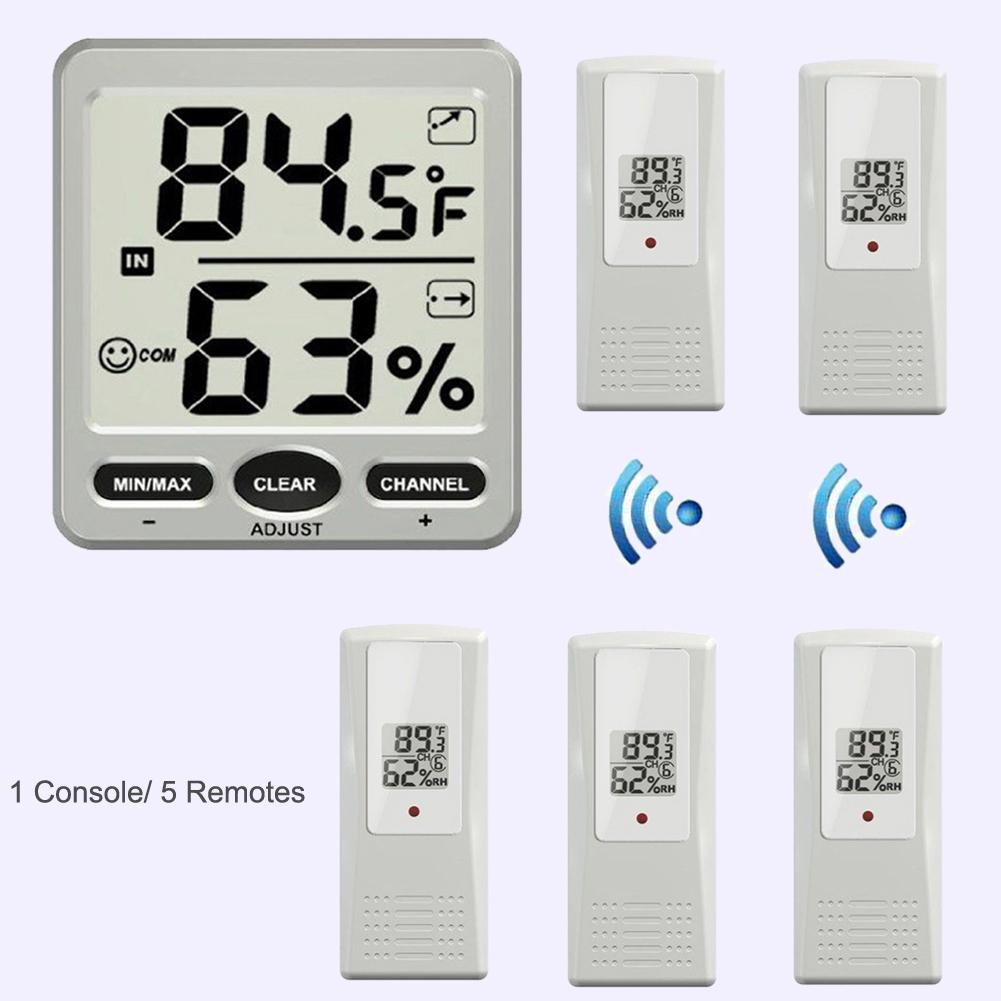 8 channel digital lcd température hygromètre station météo sans fil intérieur extérieur thermomètre hygromètre