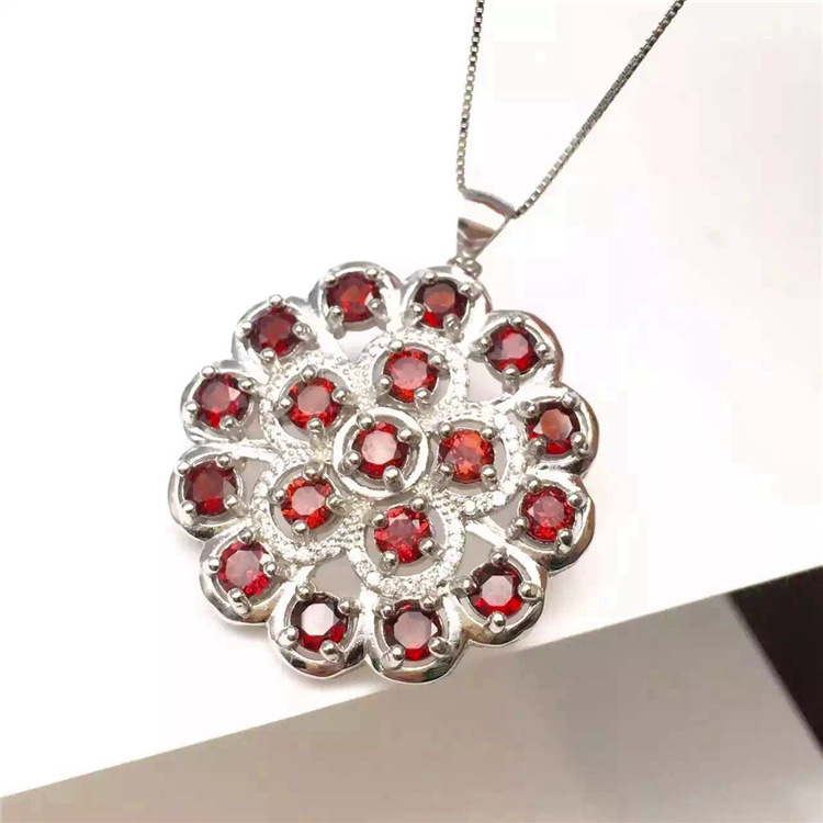 KJJEAXCMY boutique jewels 925 pure silver inlaid with gold jewelry natural garnet jewelry necklace