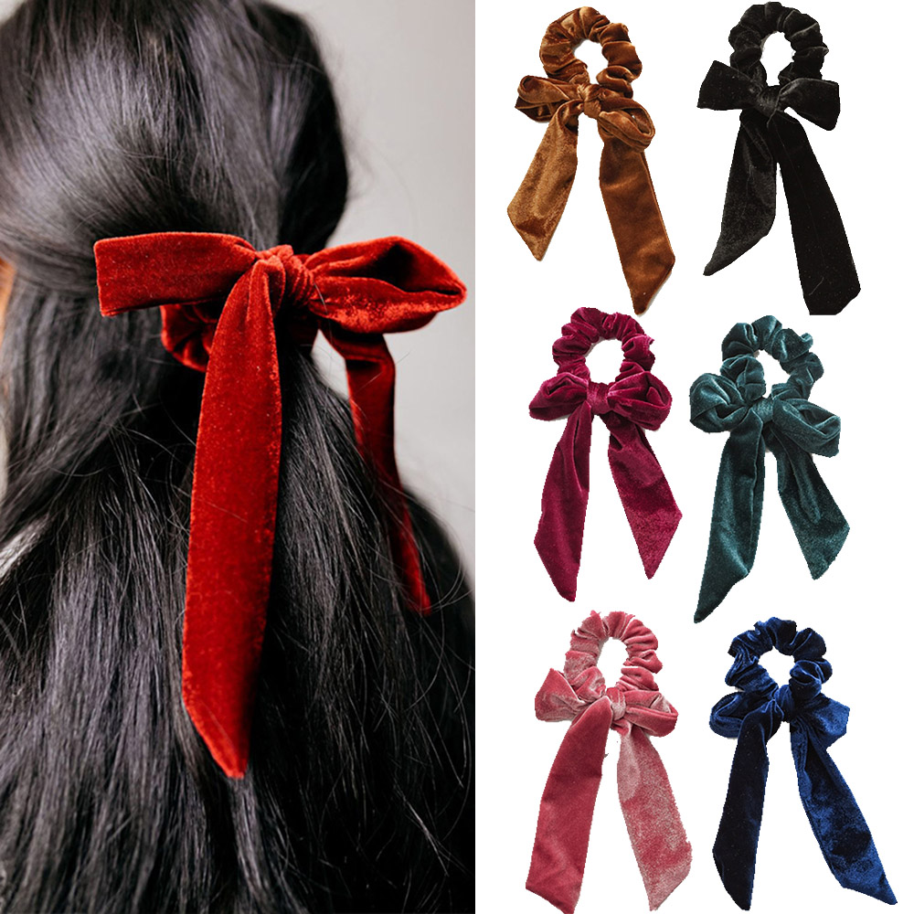 2019 New Women Velvet Scrunchies Hair Bow Elastic Hair Band Ropes Girls Hair Ties Ribbon Ponytail Holder Hair Accessories