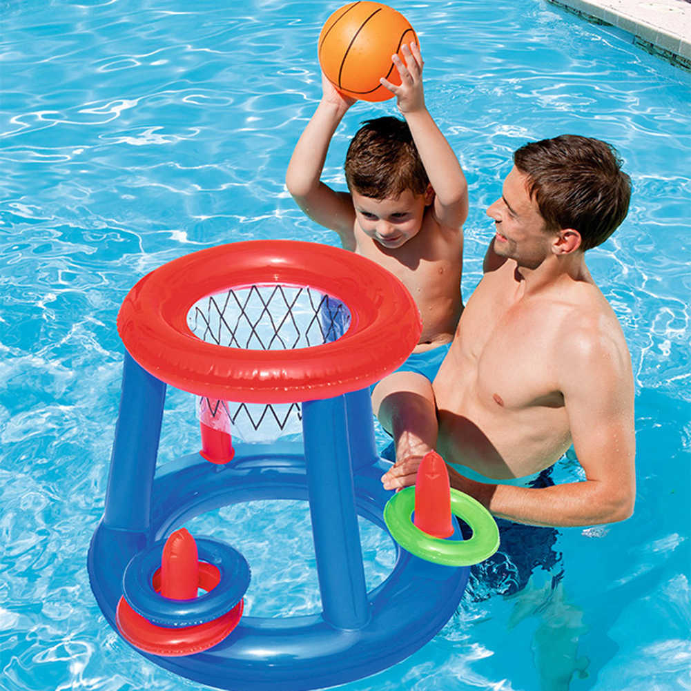 Inflatable สระว่ายน้ำฟุตบอลเป้าหมายเกมบาสเกตบอลน้ำสระว่ายน้ำ Float เด็กเกมของเล่นน้ำอุปกรณ์เสริมแฮนด์บอล