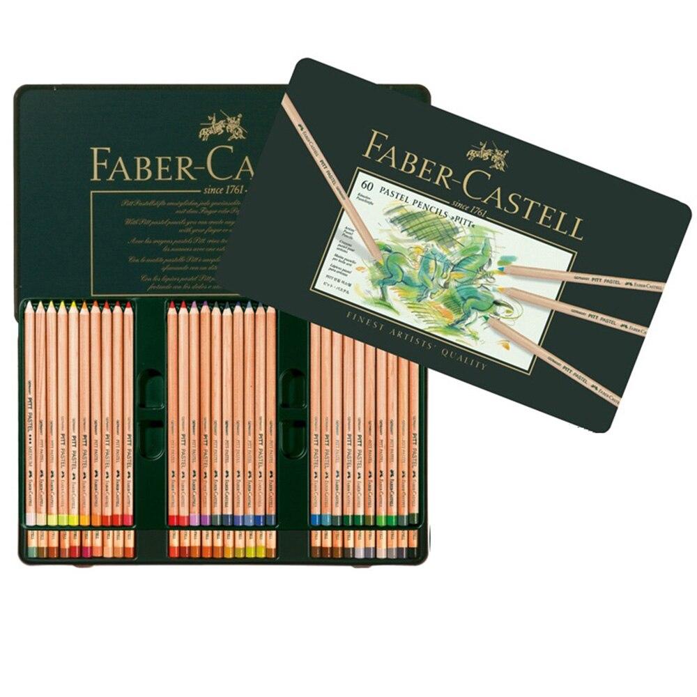 FABER CASTELL PITT artiste 60 couleurs Pastel crayons vert boîte en fer blanc emballage