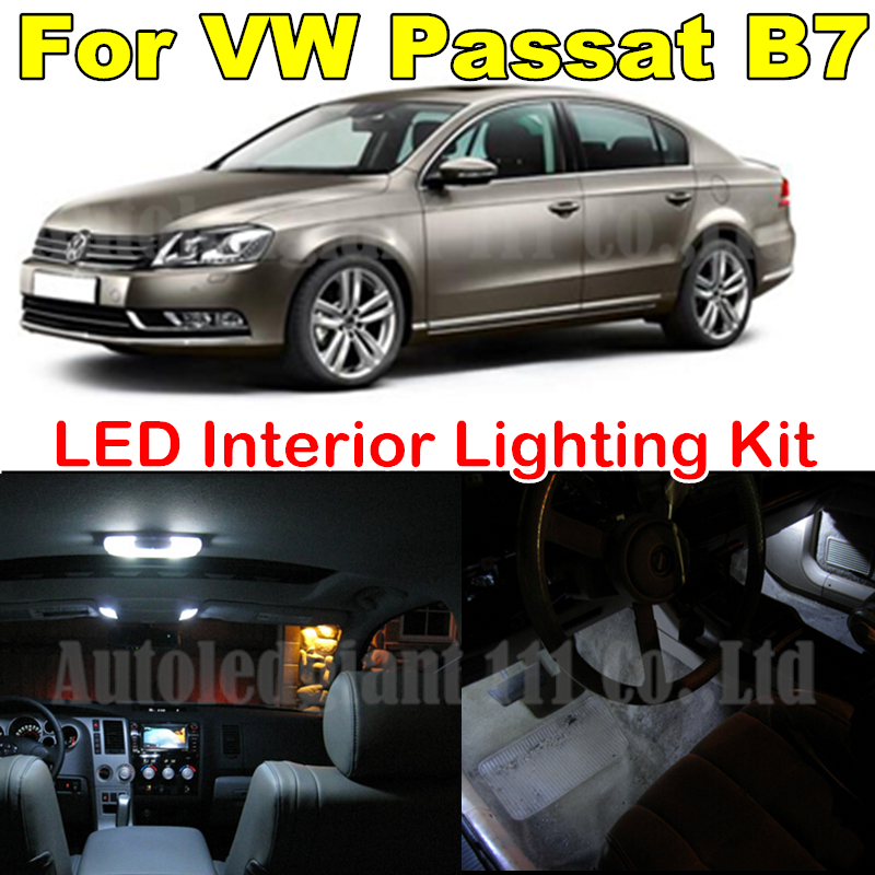 13X Cold White Light 36mm W5W Bulb For Volkswagen VW B7 Passat Canbus LED Interior light Kit Package 2012 2013 2014