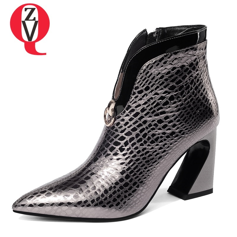 ZVQ leather women's shoes 2018 winter new style pointed toe super high strange style zipper outside fashion sexy party booties