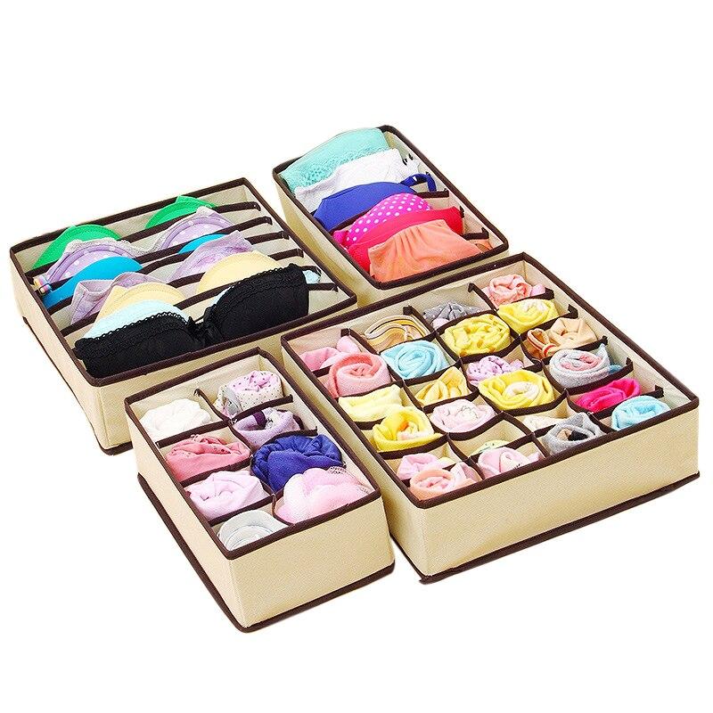 LASPERAL Drawer Closet Organizers Boxes For Underwear Bra Home Storage Non-woven Scarfs Socks Bra Organizer Storage Box