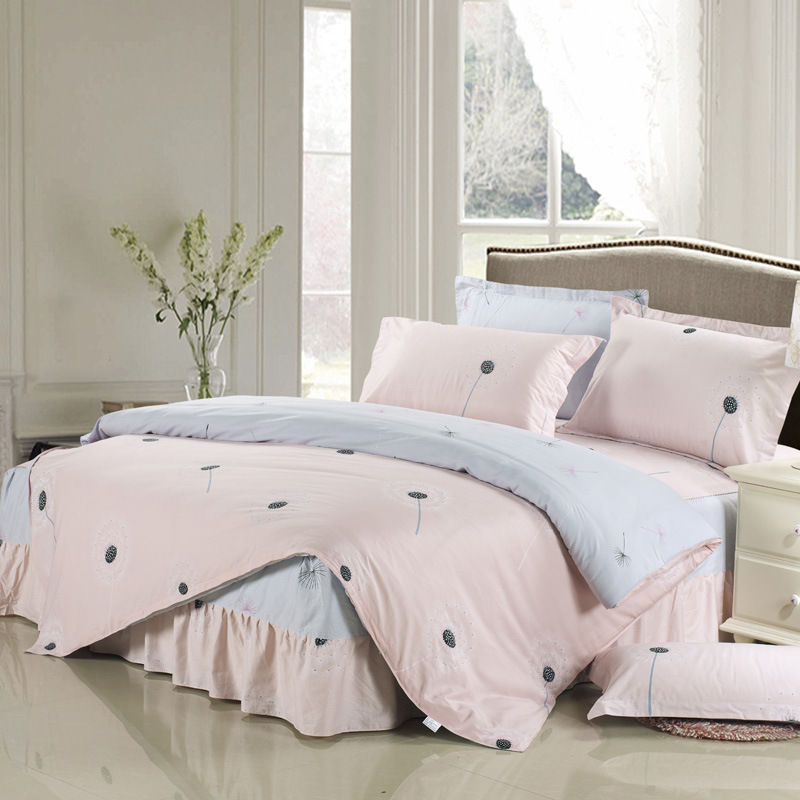 Dandelion Print Duvet Cover Sets For Single Double Bed Kids Adults 100% Cotton Bed Skirt Bedding Sets XF643-8