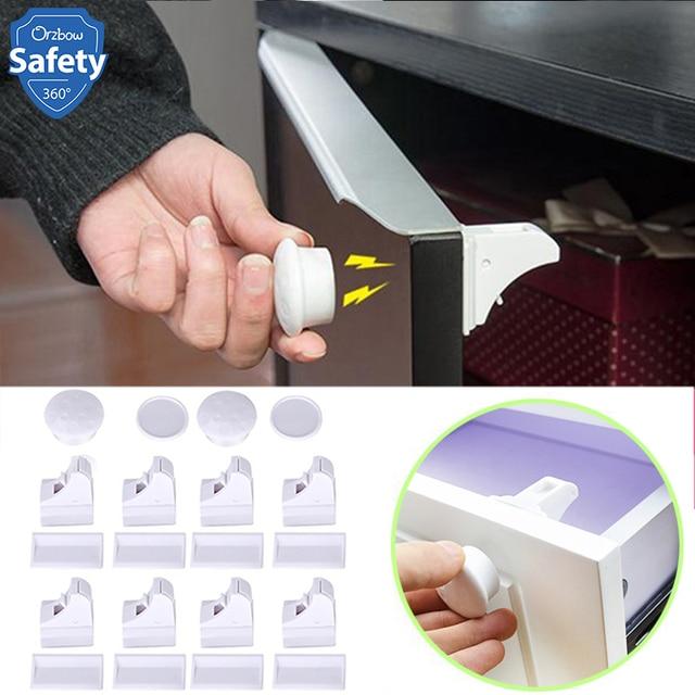 Магнитная предохранитель для шкафов и ящиков для безопасности ящика шкафа дверной замок детский шкаф невидимые защелки 4/8 шт. замок + 1/2key