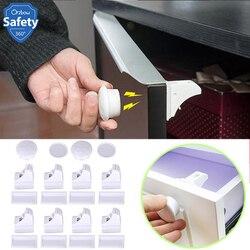 Fechadura da porta da gaveta do armário da segurança do bebê das crianças do fechamento magnético da segurança das crianças fechaduras invisíveis 4/8 pces lock + 1/2key