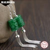 BALMORA 100 Real 925 Sterling Silver Tassel Dangle Drop Earrings For Women Mother Gift Retro Ethnic