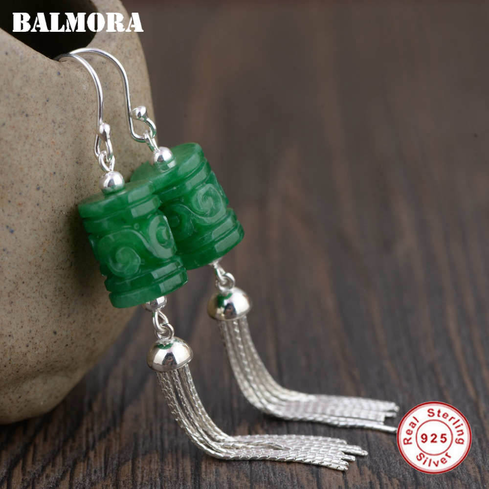 BALMORA 100% Real 925 Sterling Silver Tassel Dangle Drop Earrings for Women Mother Gift Retro Ethnic Earrings Jewelry TRS30846 lzhlq tassel earrings for women ethnic big drop earrings bohemia fashion jewelry trendy cotton rope fringe long dangle earrings
