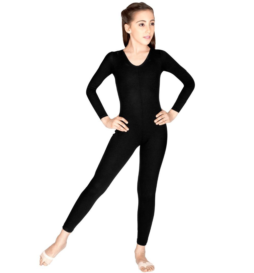 Girls Long Sleeve Black Unitard Bodysuit Lycra Spandex Gymnastics Leotards For Dance Class Yoga Dancewear Ballet Jumpsuit