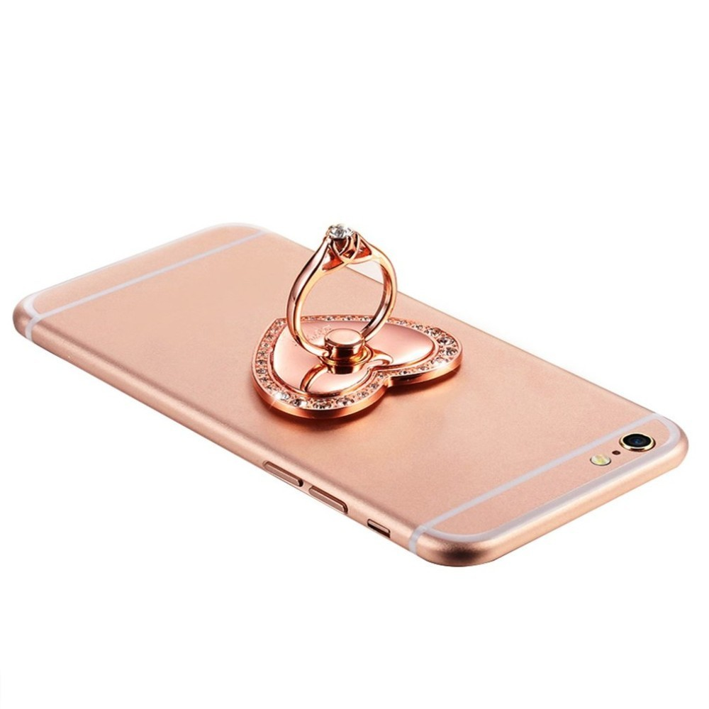 Luxury Heart Shape Diamond Finger Ring Holder Universal Mobile Phone Stand For iPhone X 8 7 Plus Samsung S9 S8 All Smartphones