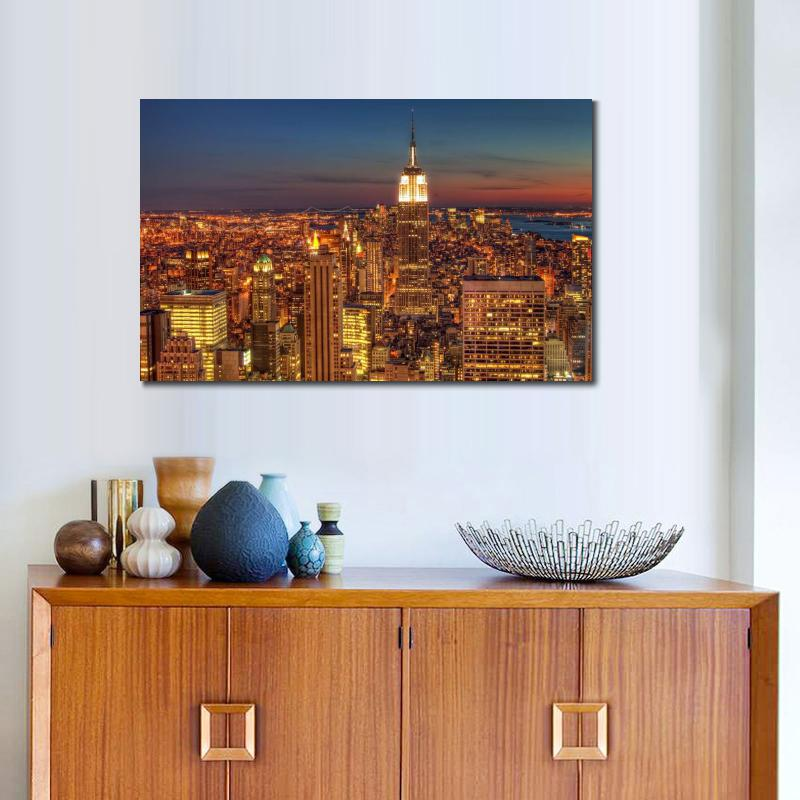HD canvas prints custom size america usa night skyscrapers top view poster art paintings for wall decor
