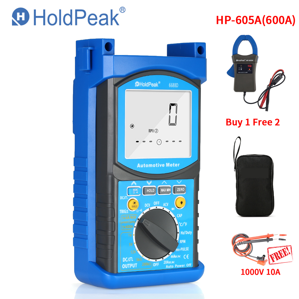 HP-6688D Digital Automotive Engine Analyzer Multimeter 6688D 1000V 20A Capacitance Resistance Diode Tester Voltmeter Ammeter new style victor digital multimeter 20a 1000v resistance capacitance inductance temp vc9805a