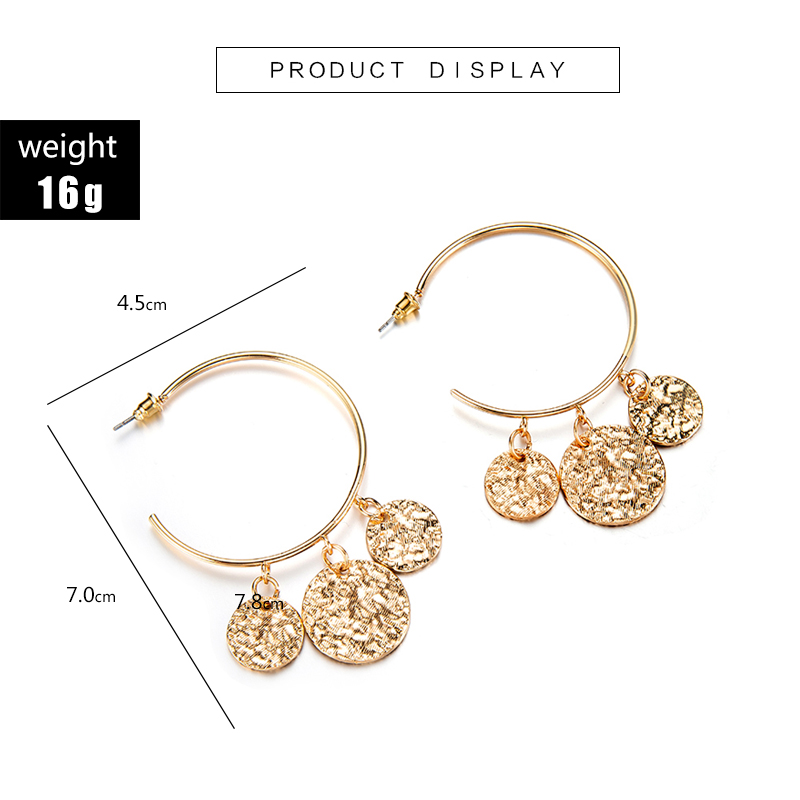 Tocona New Arrival Punk Big Round Shape Design Geometric Pendant Earrings For Women Female Gold Color Jewelry Accessories 3537 3