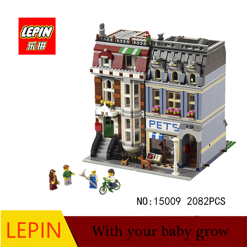 lepin minecraft DHL LEPIN 15009 Pet Shop Supermarket Model City Street Building Blocks Compatible with legoed 10218 Toys конструктор lepin creators зоомагазин 2082 дет 15009