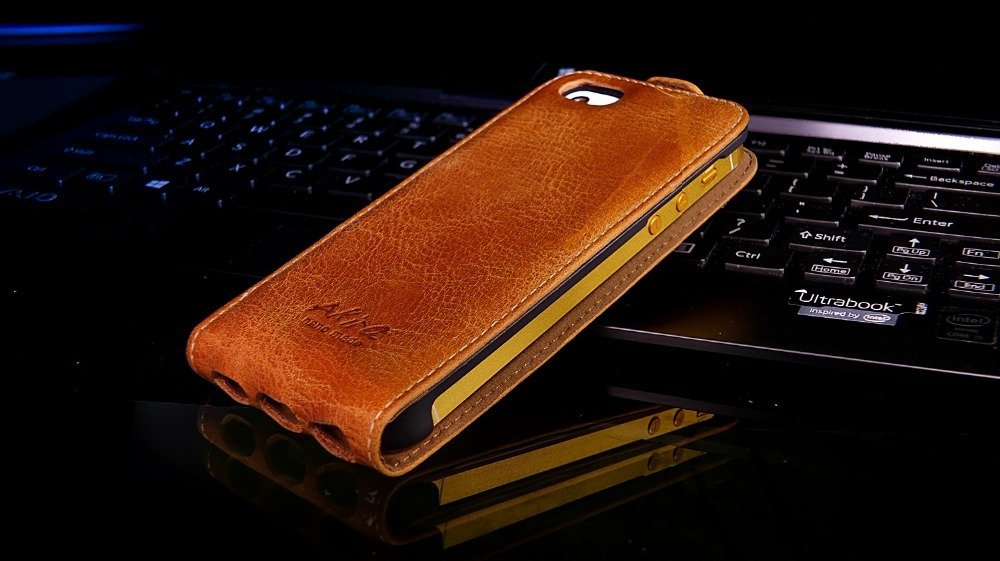 Genuine Real 100% Leather Case Cover Skin iPhone 5 5G 5S/ Handmade Brown iphone leather case - Factory Akira HandMade store