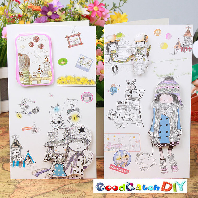8 Sets Of Cartoon Girl Happy Birthday Card Paper CARDS Blessing Sweet Design Creative Greetings Christmas