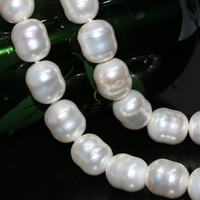 Top Quality New Fashion White Natural Pearl Shell Loose Beads Irregular Approx Rice Barrel 12 15mm