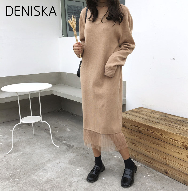 DENISKA 2018 Women Spring Autumn Sweater Knitted Dresses New Slim Elastic Long Sleeve Sexy Lady Robe Lace Dresses