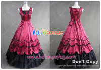 Southern Belle Ball Red Gown Dress Civil War Gothic cosplay dress H008