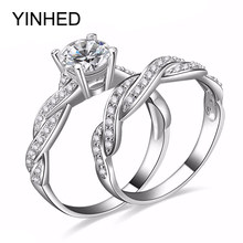 YINHED Engagement Wedding Ring Set Pure 925 Sterling Silver Jewelry Brand New Zircon CZ Stone Infinity Love Bridal Ring ZR253(China)