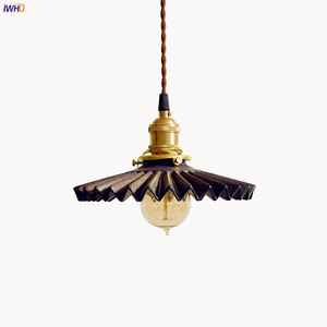 IWHD Japanese Style LED Pendant Light Fixtures Edison Living Room Creamic Copper Vintage Hanging Lights Lamp Lamparas Colgantes
