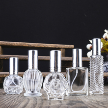 H&D Clear Portable Travel Refillable Perfume Bottle Perfume Atomizer,Empty Refillable Glass Bottle, Silver Sprayer  (Set of 5)  30ml square color glass perfume bottle refillable empty sprayer bottle atomizer women makeup cosmetic containers 10pcs lot fz351