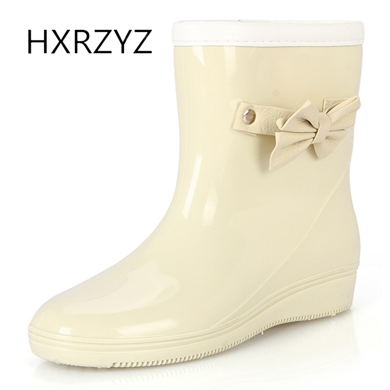 water shoes Women spring and autumn new bow rubber boots Ladies plus Cotton warm rain boots Non-slip rubber rain shoes water shoes spring and autumn woman warm rain shoes and ankle rain boots lady waterproof fashion rubber boots